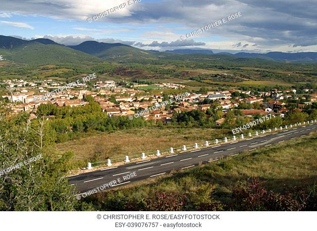 France, Languedoc-Roussillon, Herault, the view over the picturesque town of St-Chinian towards the Haut-Languedoc