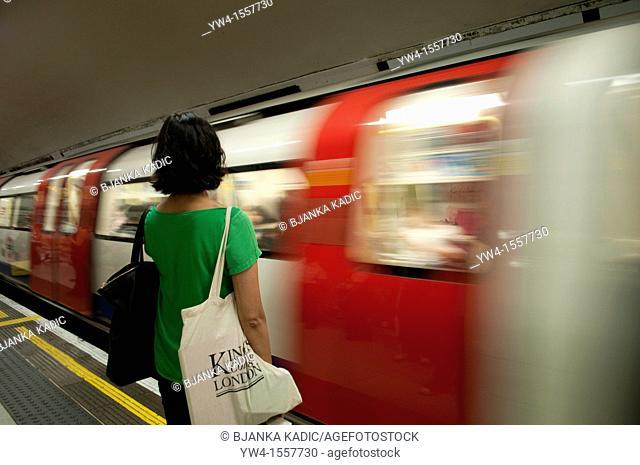 Blurred underground train arriving at the station, London, United Kingdom