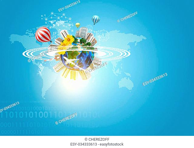 Earth with buildings, air balloons, flowers and airplane. World map and figures as backdrop. Element of this image furnished by NASA