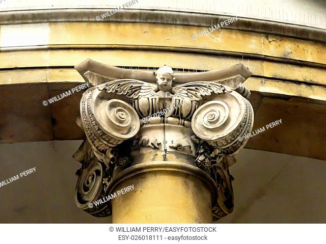 Stone Angel Column All Souls Langham Place Anglican Church West End London England. All Souls Church was created by famous London architect John Nash in the...