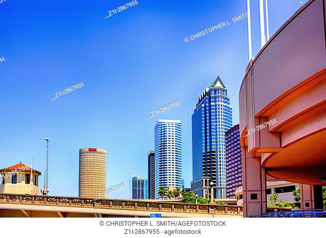View of the downtown skyscrapers in Tampa Florida