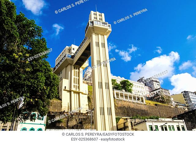 Elevador Lacerda elevator is one of the most famous landmarks in Salvador de Bahia Brazil