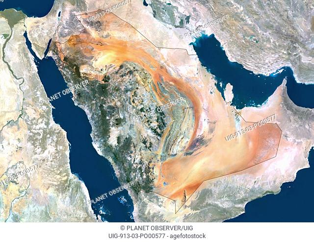 Saudi Arabia, Middle East, Asia, True Colour Satellite Image With Border And Mask. Satellite view of Saudi Arabia with border and mask