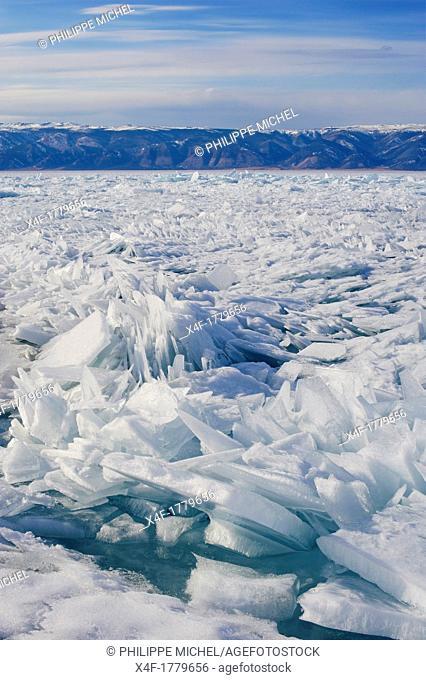 Russia, Siberia, Irkutsk oblast, Baikal lake, Maloe More little sea, frozen lake during winter