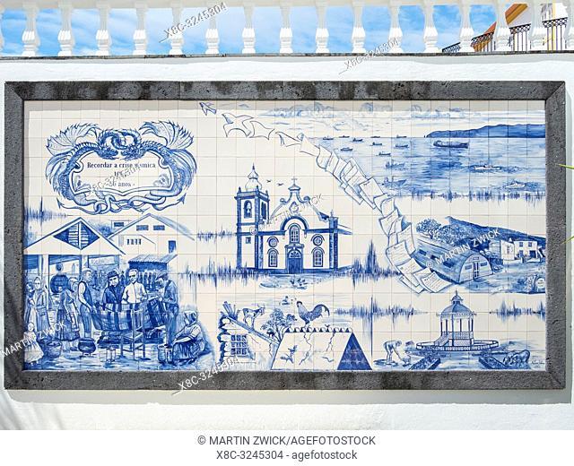 Azulejo commemorating the earthquake in 1964. Velas, the main town on the island. Sao Jorge Island, an island in the Azores (Ilhas dos Acores) in the Atlantic...