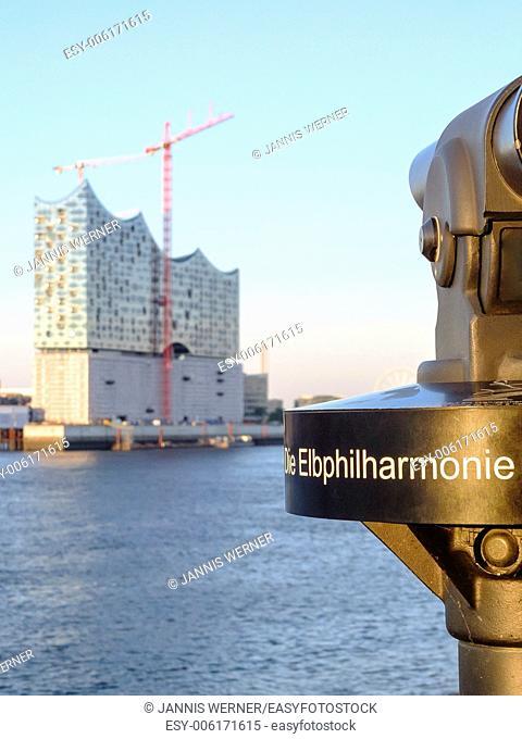 Elbphilharmonie (Elbe Philharmonic building) construction from across the river Elbe in Hamburg, Germany