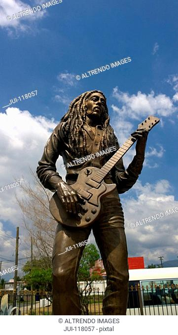 Statue Of Bob Marley In Kingston Jamaica