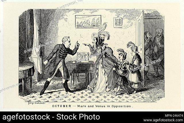 October - Mars and Venus in Opposition from George Cruikshank's Steel Etchings to The Comic Almanacks: 1835-1853 - 1839, printed c