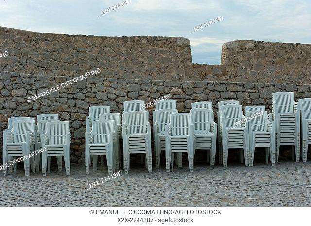 Chairs, Old Town, Dalt Vila, Eivissa, Ibiza, Balearic Islands, Spain, Mediterranean, Europe