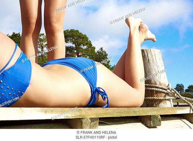 Close up of woman's bikini