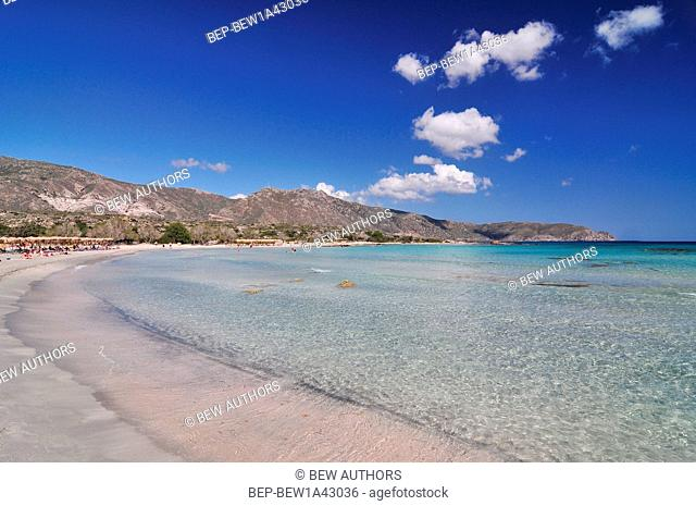 Elafonisos beach on the south-west coast of Crete island in Greece, rated one of the most fabulous beaches in Europe