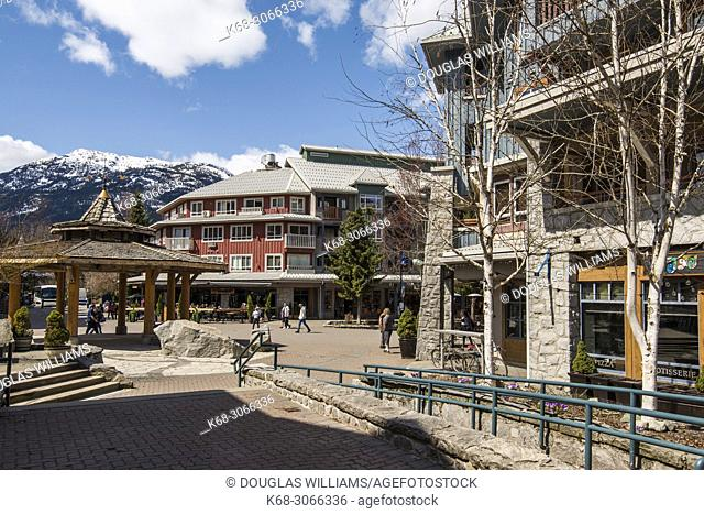 Street and plaza in Whistler Village, British Columbia, Canada