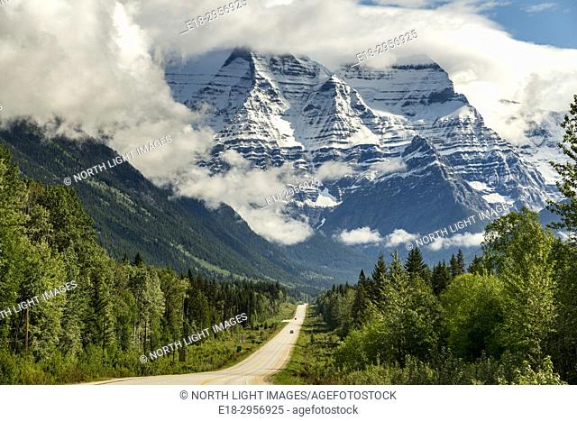 Canada, BC, Valemont. Mount Robson Provincial Park. Mount Robson towers over Canada Highway 16, entering Mt Robson Provincial Park