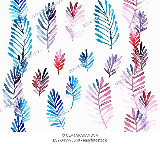 Watercolor painted leafy set and two seamless pattern borders. Decorative elements for design