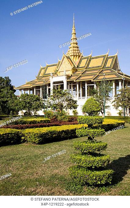 Royal Palace, Throne Room and Silver Pagoda in Phnom Penh. Cambodia