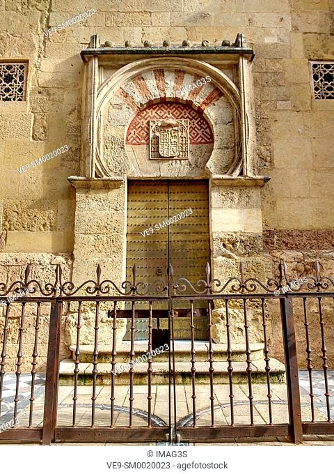 San Ildefonso door. Mezquita Cathedral Arab Wall. Cordoba City Andalusia, Spain, Europe