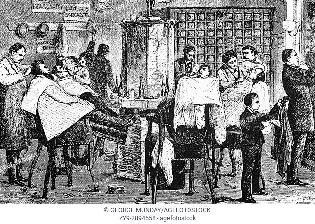 1879: A busy Hair-Dressing Saloon in New York City, United States of America