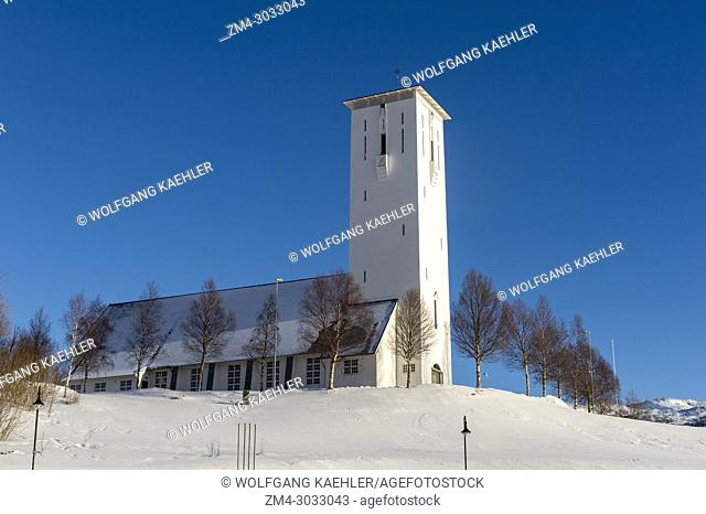 View of the church in Bjerkvik, near Narvik in northern Norway