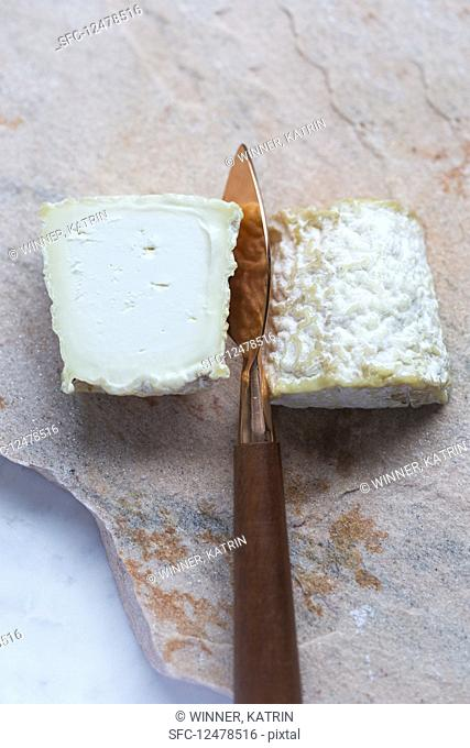 Goat's cheese with a cheese knife