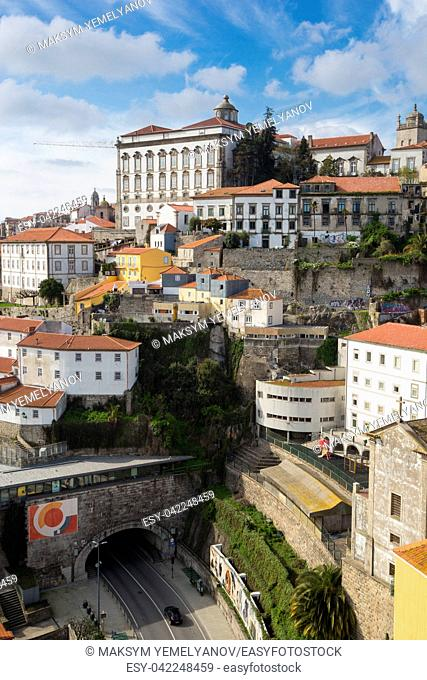 Aerial view of Porto with Episcopal Palace on the top