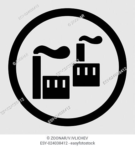 Industry flat black color rounded vector icon