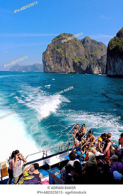 Thailand Krabi Phi Phi Islands Aboard the ferry to Phi Phi Islands