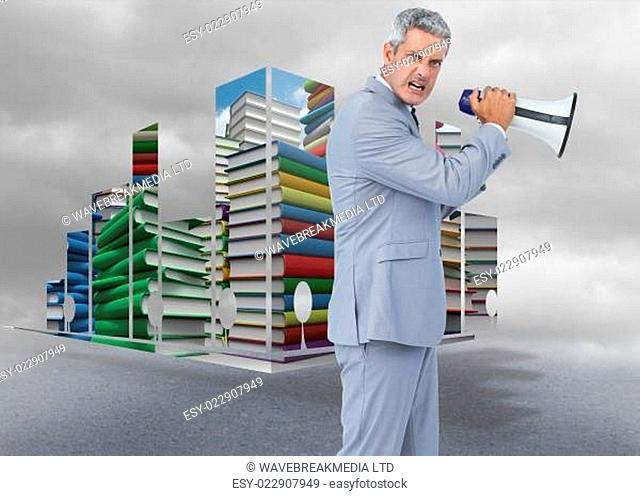 Composite image of furious businessman posing with loudspeaker