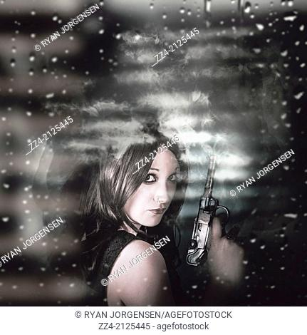 Dark artistic photo of a female spy hiding in the shadows with a weapon discharging smoke, only being lit by light seeping through slightly ajar window blinds