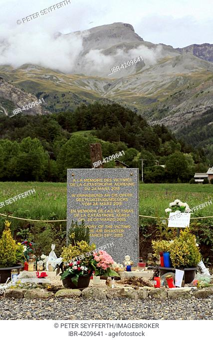 Memorial in the French Alps, Airbus A320, Germanwings, crashed at the foot of the mountain massif Les Trois Évêchés on March 24, 2015, Le Vernet