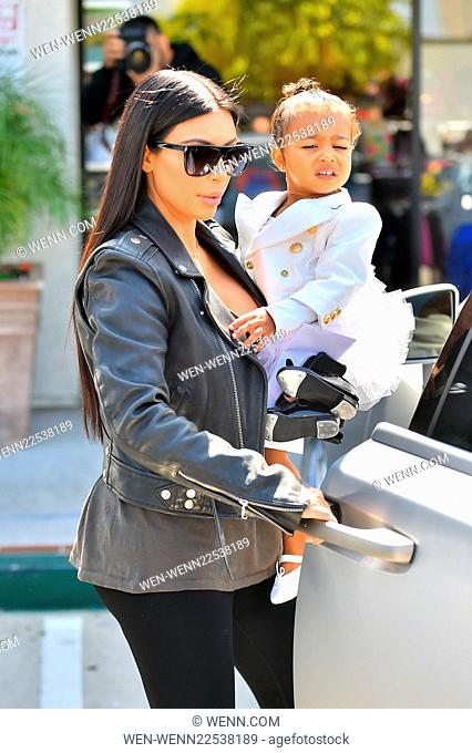 Kim Kardashian takes her daughter North West and her niece Penelope to a ballet class in Tarzana Featuring: Kim Kardashian, North West