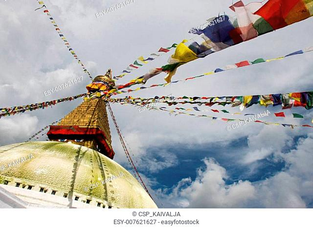 Boudhanath stupa from different ang