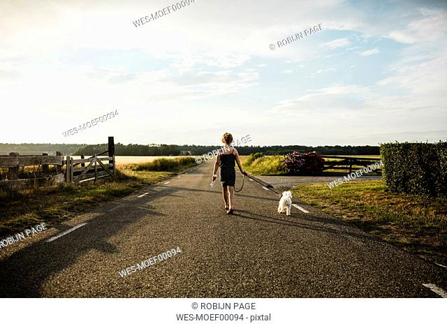 Girl walking with dog on rural road holding miniature wind turbine