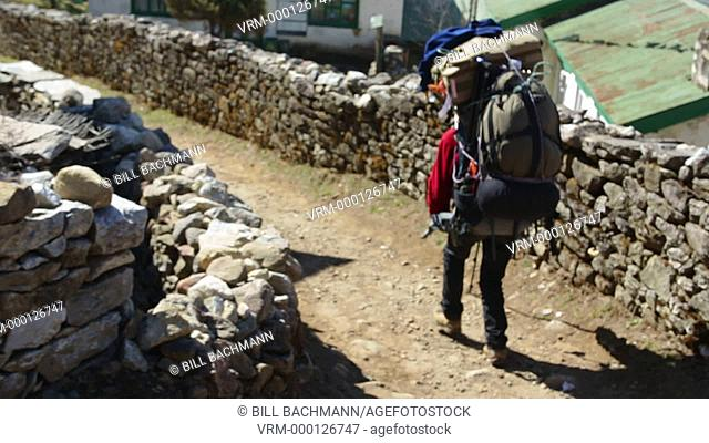Himalayas Nepal porter carrying load down trail near village in SoluKhumbu, Nepal