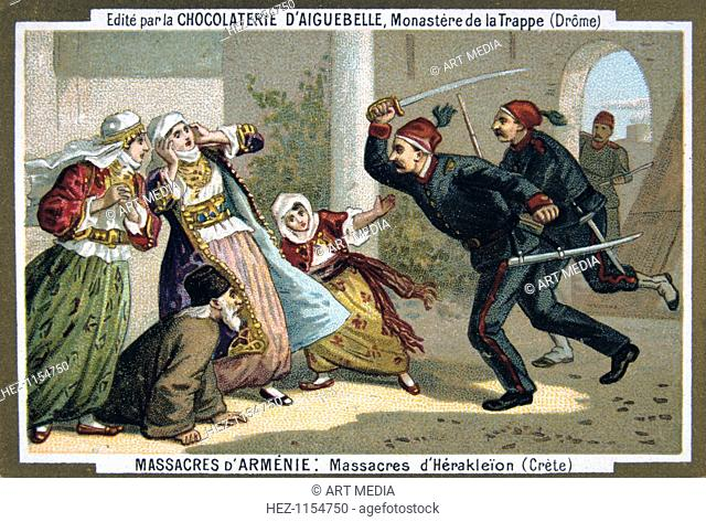 Massacres of Heraklion (Crete), 1895. Eurocentric portrayal of historical events - scene from the Massacres of Armenia card series produced by the chocolate...