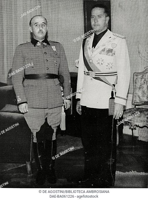 Francisco Franco receiving Galeazzo Ciano in Madrid, Spain, from L'Illustrazione Italiana, Year LXVI, No 30, July 23, 1939