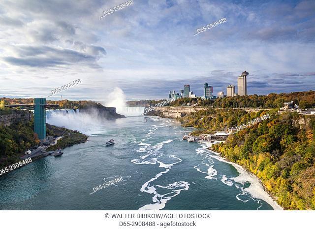 Canada, Ontario, Niagara Falls, high rise buildings by the falls