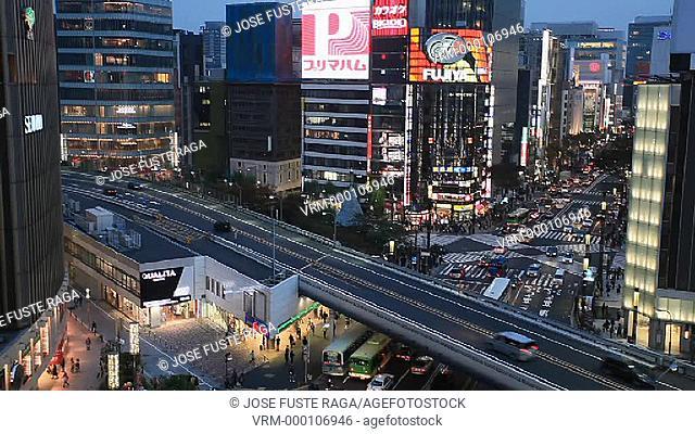Japan, Tokyo City,Ginza District, Harumi Avenue ,Yurakucho Station, Marunouchi District,Bullet Train