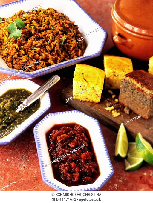 Traditional Mexican Rice, Corn Bread and Salsas