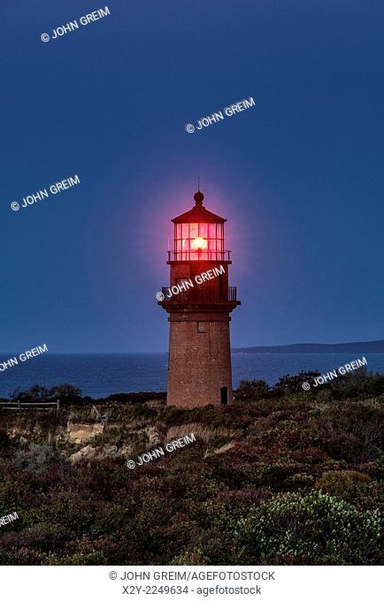 Gay Head Lighthouse at night, Aquinnah, Martha's Vineyard, Massachusetts, USA
