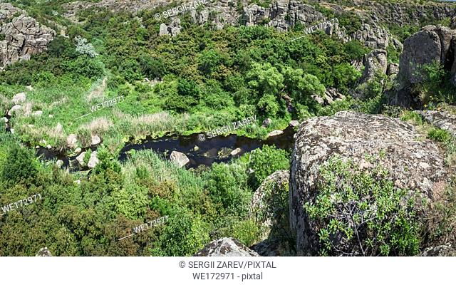 Panoramic view of Aktovskiy Canyon, Nikolayev region, Ukraine. River Mertvovod in a sunny summer day. One of natural wonders of Europe