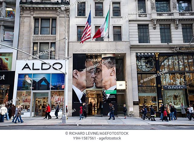 The Benetton store on Fifth Avenue in New York displays a doctored photograph of US Pres Barack Obama kissing China Pres Hu Jintao as part of the company's...