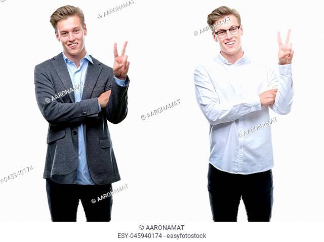 Young handsome blond business man wearing different outfits smiling with happy face winking at the camera doing victory sign. Number two