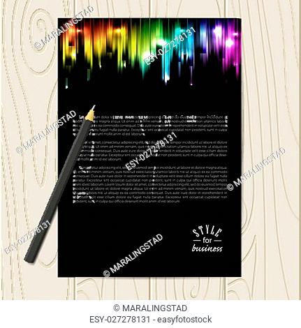 Vector corporate identity template with abstract glowing rainbow background