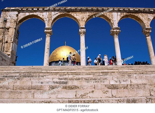 THE DOME OF THE ROCK, SHRINE BUILT ON THE ESPLANADE OF THE MOSQUES HARAM AL-SHARIF, TEMPLE MOUNT, THE OLD CITY OF JERUSALEM, ISRAEL