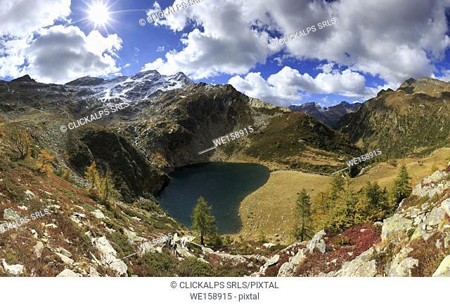Lago di Trescolmen in val Calanca seen from above in autumn, canton Grisons, Switzerland