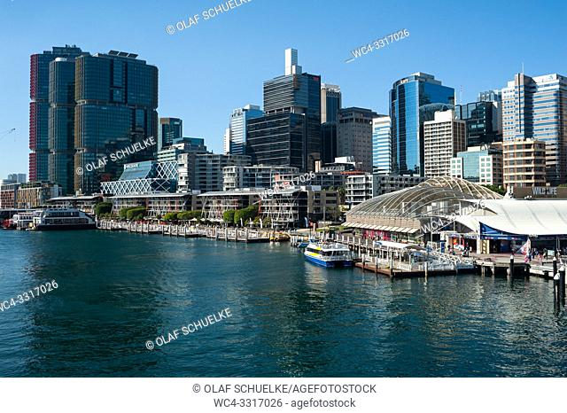 Sydney, New South Wales, Australia - A view of Darling Harbour and the city skyline of the central business district in Barangaroo