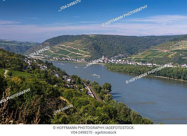 River barges on the Rhine river, Rhineland-Palatinate, Germany, Europe