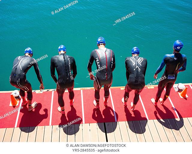 Elite men swim leg of the 2017 ETU Triathlon European Cup in Las Palmas on Gran Canaria, Canary Islands, Spain