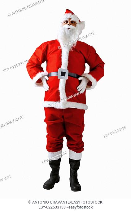 Isolated Santa Claus with hat on white background