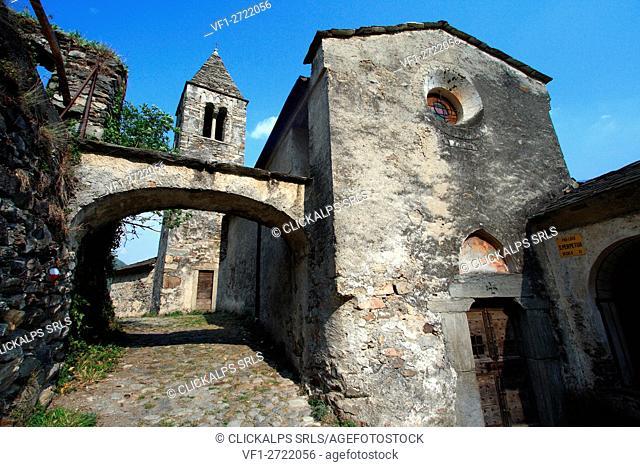 The ancient xenodochio of Santa Perpetua in Tirano, Valtellina, Lombardy Italy Europe